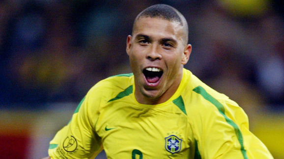 Brazil's forward Ronaldo celebrates after scoring