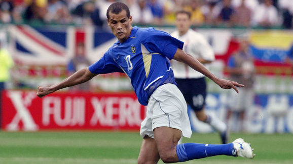 Brazilian midfielder Rivaldo kicks the ball during