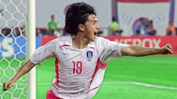 South Korean midfielder Ahn Jung-hwan celebrates h