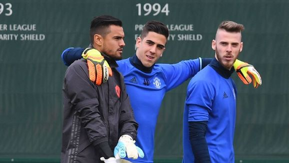 Pereira with United's other goalkeepers Romero and De Gea