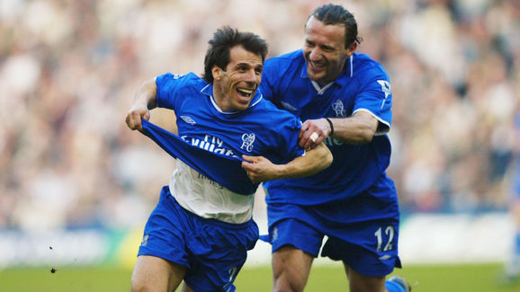 Gianfranco Zola of Chelsea celebrates scoring the second goal with team-mate Mario Stanic