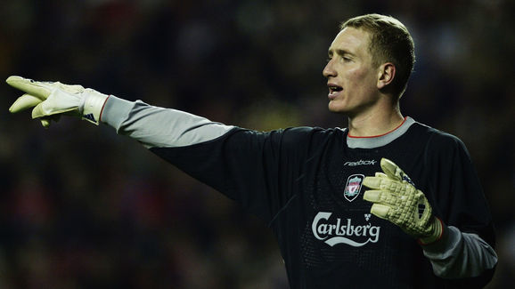 Chris Kirkland of Liverpool signals to a team mate