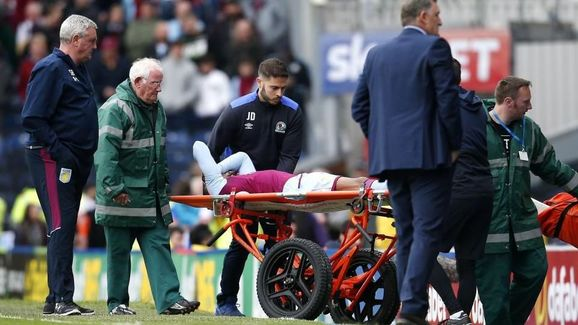 Jonathan Kodjia injures ankle in defeat to Blackburn Rovers.