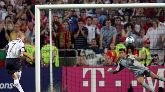England captain David Beckham's misses his penalty against Portugal's goalkeeper Ricardo in Euro 2004