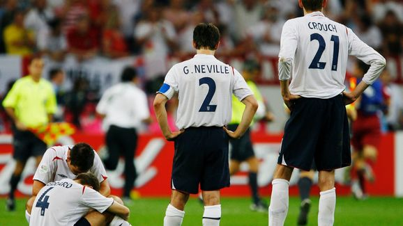 England players look dejected following their team's defeat in a penalty shootout at the end of the FIFA World Cup Germany 2006