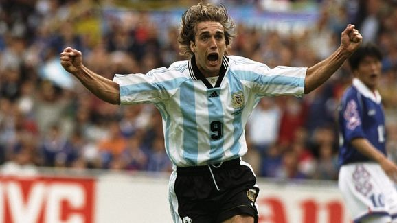 Gabriel Batistuta of Argentina celebrates after scoring in the World Cup in France 98