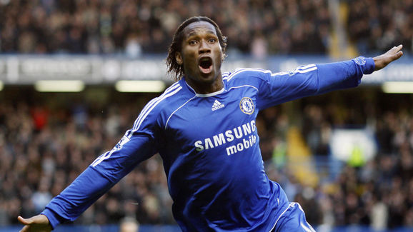 Chelsea's Didier Drogba celebrates after