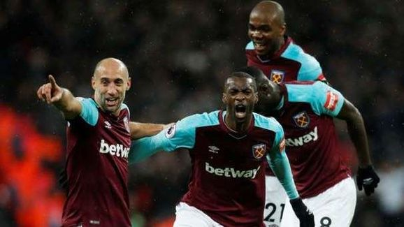 Pedro Obiang Celebrates After Giving West Ham the Lead at Wembley