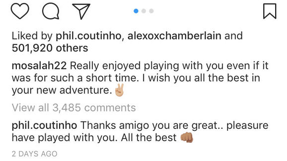 Salah post and Coutinho comment on Instagram