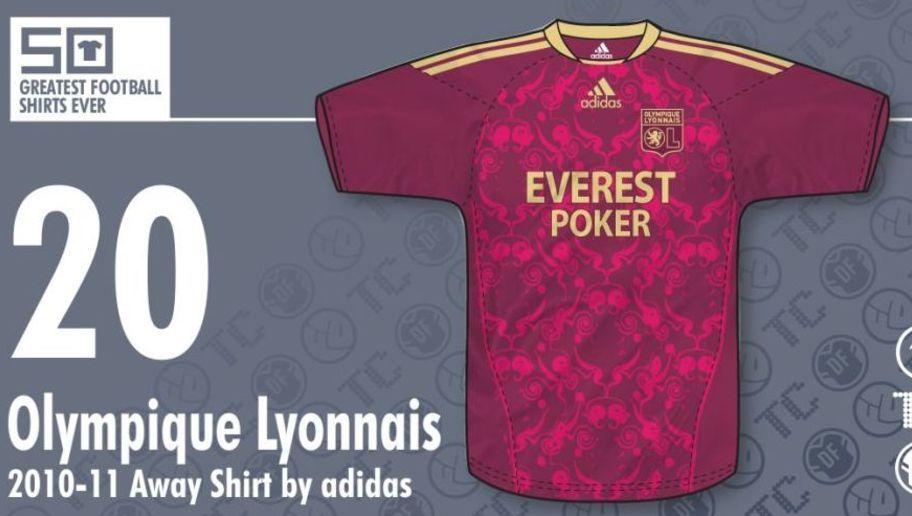 8da0b57e6f1c8  Olympique Lyon comienza la lista de las 20 camisetas más lindas de la  historia del fútbol. Esta casaca