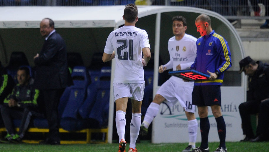 CADIZ, SPAIN - DECEMBER 02:  Denis Cheryshev of Real Madrid is substituted for Mateo Kovacic in the first minute of the 2nd half during the Copa del Rey Round of 32 First Leg match between Cadiz and Real Madrid at Ramon de Carranza stadium on December 2, 2015 in Cadiz, Spain.  (Photo by Denis Doyle/Getty Images)