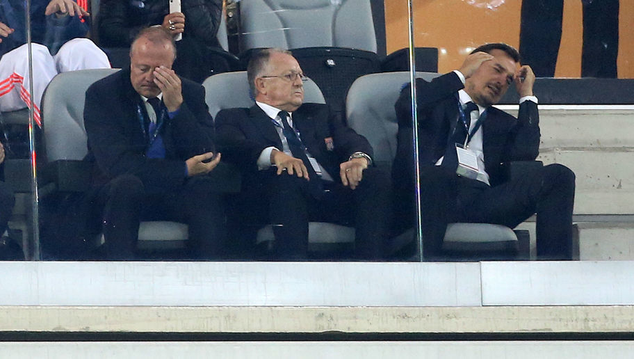 GENT, FRANCE - SEPTEMBER 16: Adviser to President of Lyon Bernard Lacombe and President of Lyon Jean-Michel Aulas react when Alexandre Lacazette of Lyon misses the penalty kick during the UEFA Champions League match between K.A.A. Ghent (Gand) and Olympique Lyonnais at Ghelamco Arena on September 16 , 2015 in Paris, France. (Photo by Jean Catuffe/Getty Images)