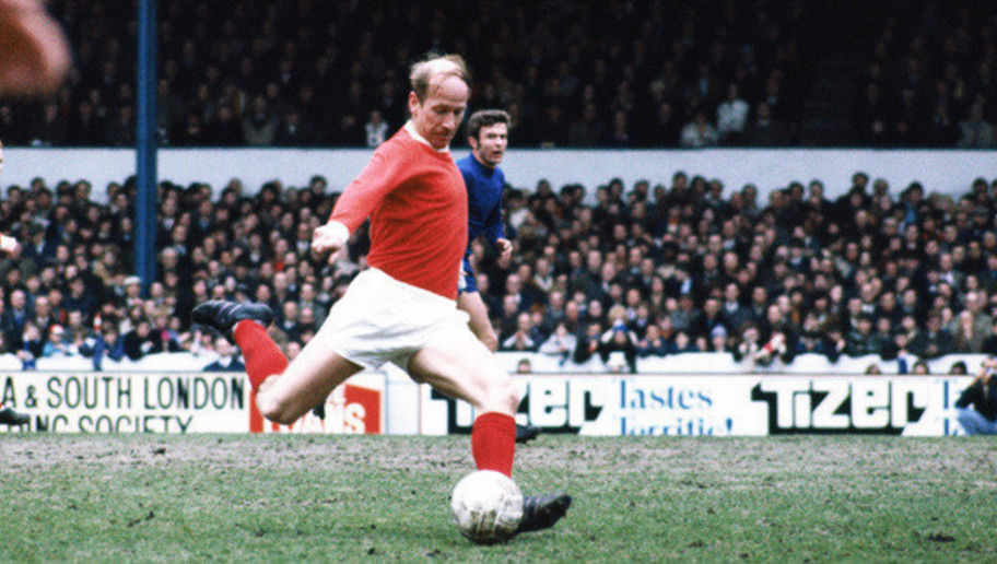 English footballer Bobby Charlton of Manchester United F.C. in action against Chelsea at Stamford Bridge, circa 1970
