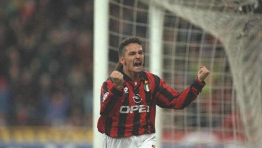 24 Nov 1996:  Roberto Baggio of Milan celebrates his goal during the Serie A match between AC Milan and Inter Milan at the San Siro Stadium in Milan, Italy. Mandatory Credit: Claudio Villa/Allsport