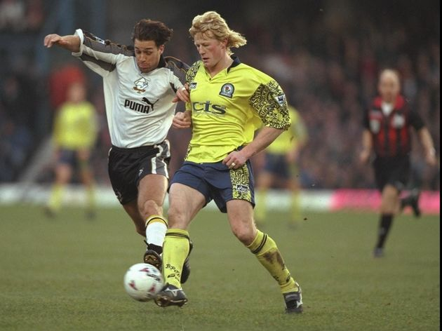 28 Dec 1996:  Ashley Ward of Derby is challenged by Colin Hendry of Blackburn during the Premier Lea