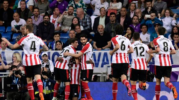 Bilbao celebrate going 1-0 up at the Bernabeu