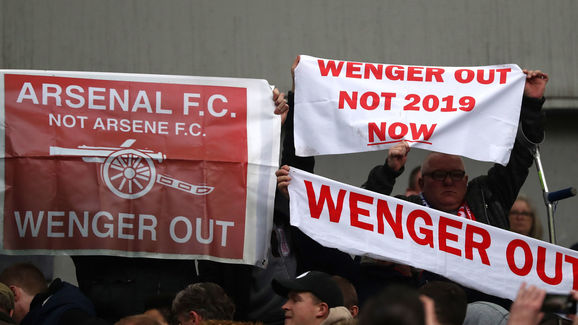 Wenger out banners have been commonplace at Arsenal for years
