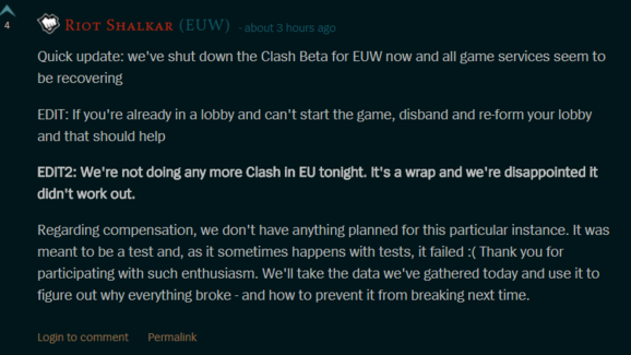 League of Legends Clash Test Cancelled For EUW After Server Problems