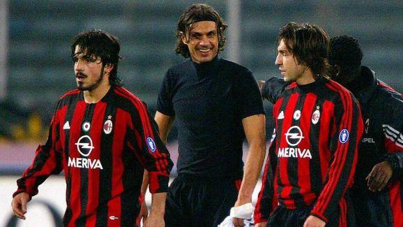 Gattuso e Maldini (ambos à esquerda) atuaram juntos com a camisa do Milan