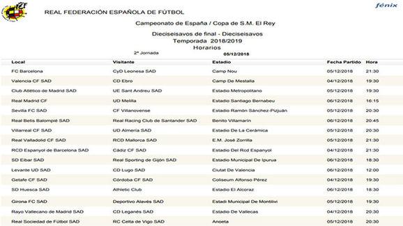 Partidos y horarios vuelta 1/16 de final, Copa del Rey