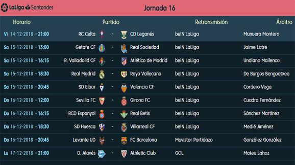 Partidos y horarios Jornada 16, LaLiga Santander