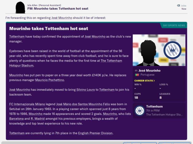 Football Manager 2020 Reveals How Jose Mourinho Will Get on as Tottenham Boss 2