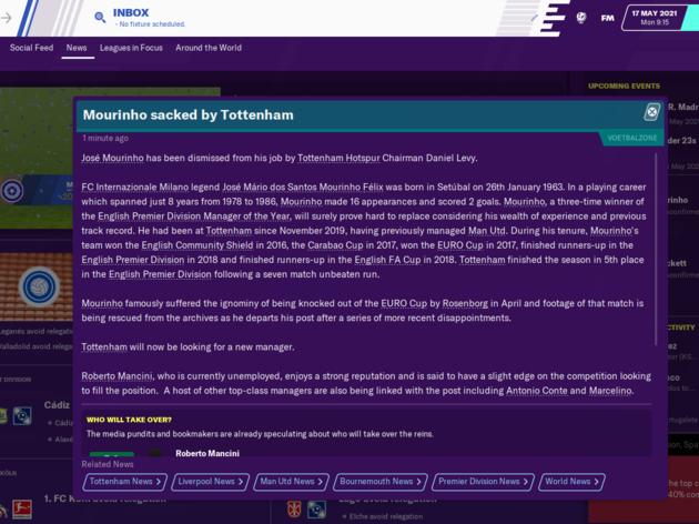 Football Manager 2020 Reveals How Jose Mourinho Will Get on as Tottenham Boss 24