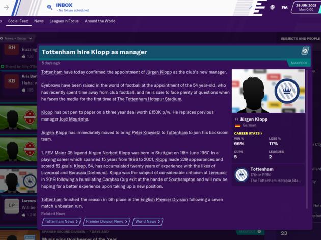 Football Manager 2020 Reveals How Jose Mourinho Will Get on as Tottenham Boss 26