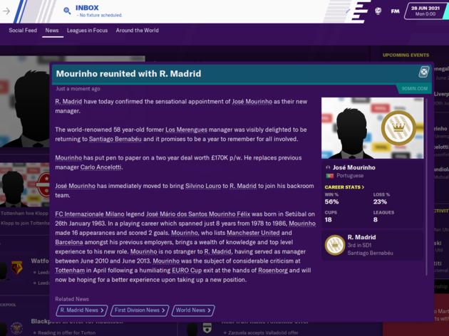 Football Manager 2020 Reveals How Jose Mourinho Will Get on as Tottenham Boss 28