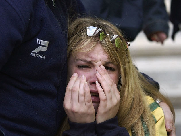 A dejected West Bromwich Albion fan after her side are relegated