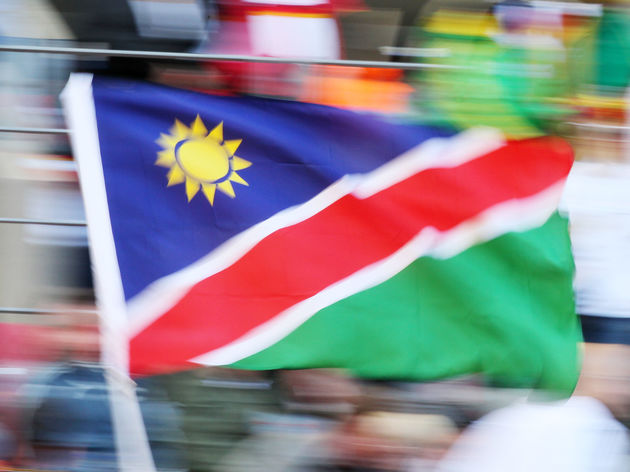 A supporter waves a Namibia national fla