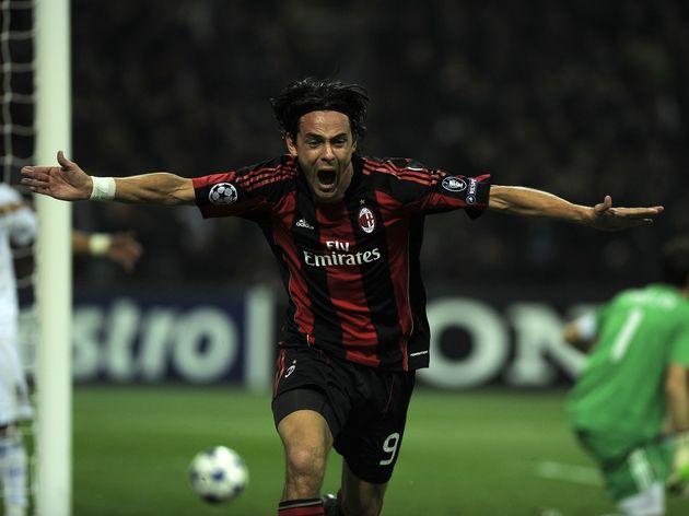 AC Milan's forward Filippo Inzaghi (C) c