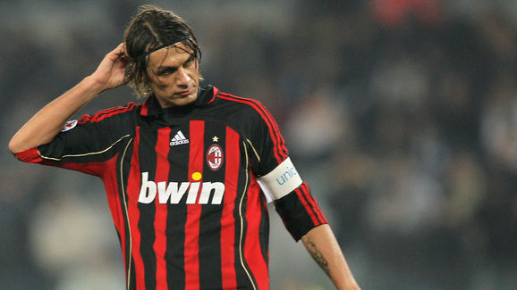 AC Milan's Paolo Maldini reacts during I