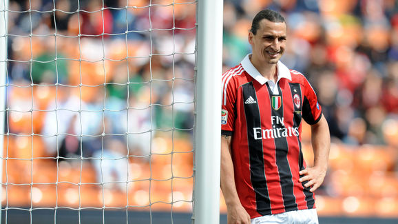 AC Milan's zlatan Ibrahimovic reacts dur