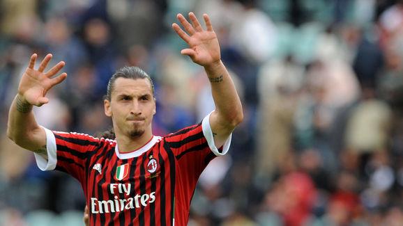 AC Milan's Zlatan Ibrahimovic waves afte