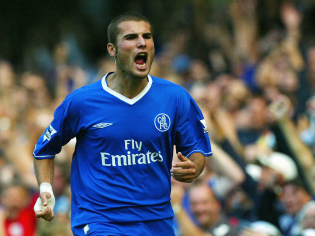 Adrian Mutu of Chelsea starts to celebrate scoring a goal but it was later disallowed
