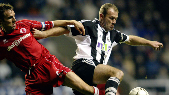 Alan Shearer of Newcastle and Gareth Southgate of Middlesbrough