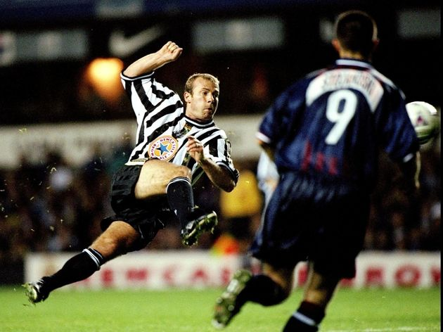 Alan Shearer of Newcastle takes a shot a goal