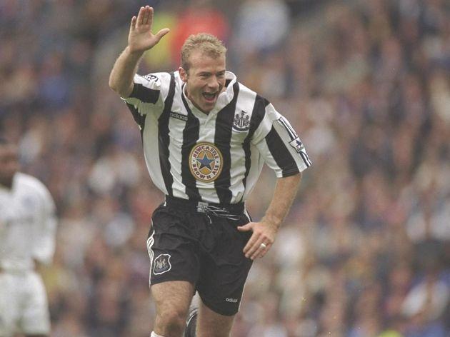 Alan Shearer of Newcastle United celebrates after scoring