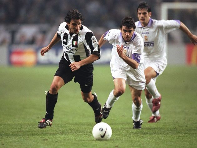 Alessandro del Piero of Juventus and Manuel Sanchis of Real Madrid