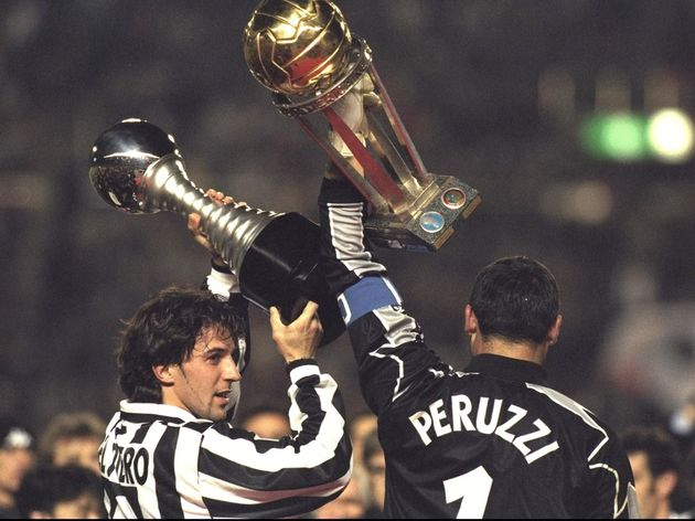Alessandro Del Piero of Juventus (left) and teammate Angelo Peruzzi