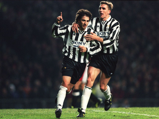 Alessandro Del Piero of Juventus (left) is congratualted by teammate Alen Boksic