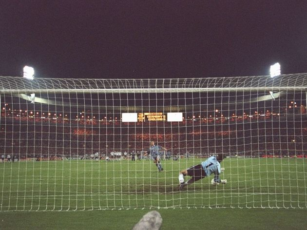 Andreas Kopke of Germany (number 1) saves Gareth Southgate of England's penalty