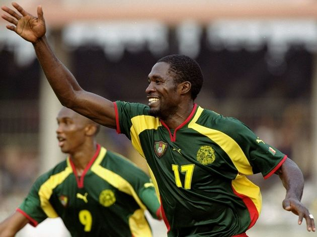 arc Vivien Foe celebrates for Cameroon