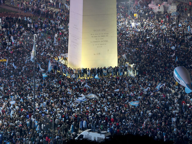 Argentines Gather In Buenos Aires To Watch Country's World Cup Final Match Against Germany
