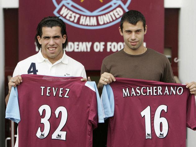 Argentinian footballer's Carlos Tevez (L