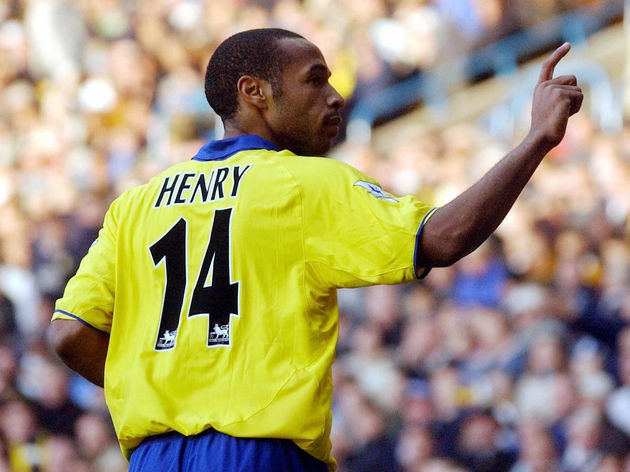 Arsenal's Thierry Henry celebrates after
