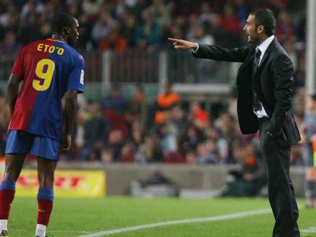 Barcelona's Coach Josep Guardiola (R) sp