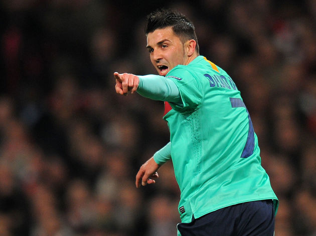 Barcelona's forward David Villa celebrat