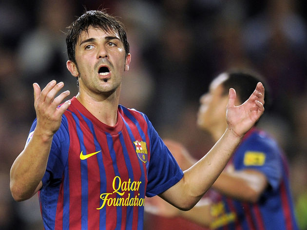 Barcelona's forward David Villa reacts a